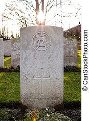 Cimetière, flandre, mondiale, Belgique, soldats, baissé, guerre