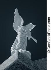 cimetière, marbre, ange