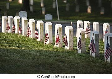 cimetière, national, tombe, commémoratif, marqueurs, arlington, jour, drapeaux