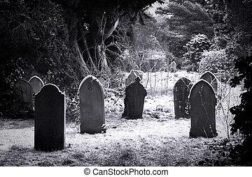 cimetière, neige, &
