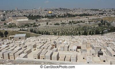 cimetière, olives, monter, vieux, horizon, ville, juif, jérusalem