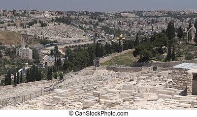 cimetière, olives, monter, vieux, israël, ville, juif, jérusalem