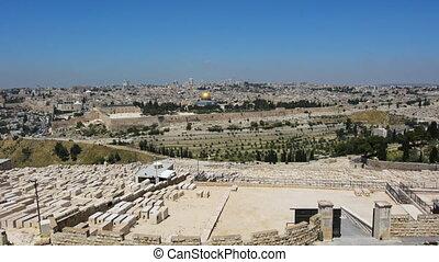 cimetière, olives, monter, vieux, moderne, horizon, ville, juif, jérusalem
