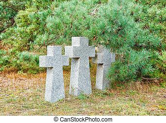 Cimetière, pierre, croix, vieux, Trois