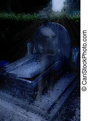 cimetière, soir, à, fantôme