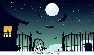 cimetière, spooky, halloween, fond, maison, hanté