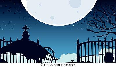 cimetière, spooky, halloween, fond, nuit
