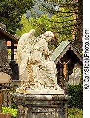 cimetière, statue ange