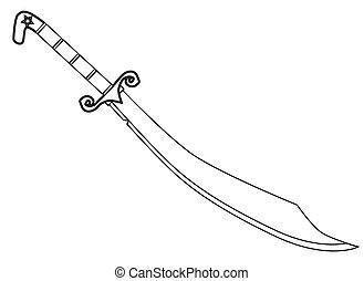 cimitarra, espada, contorno