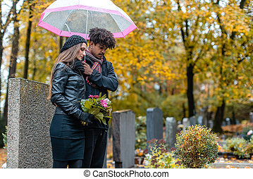 cimitero, dolore, cadere, coppia