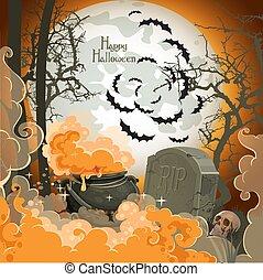 cimitero, vaso, -, ottobre, notte, halloween, felice, pozione, pieno, 31, luna