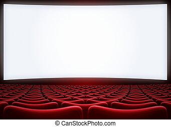 cinéma, écran, backgound, illustration, sièges, rouges, 3d