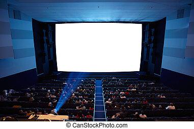cinéma, auditorium, à, lumière, de, projector.