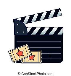 cinéma, billets, bardeau, film