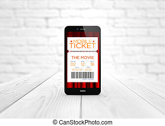 cinéma, bois, sur, téléphone, e-tickets, table, intelligent