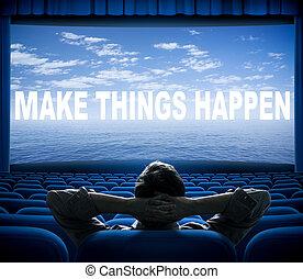cinéma, choses, faire, locution, happen, écran