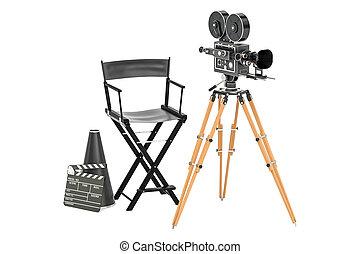 Cinéma, vendange, concept., film, megaphone., production ...