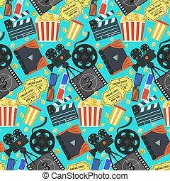 cinéma, couleur, modèle, billets, appareil photo, pop-corn