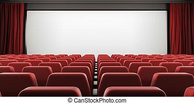 cinéma, curtain., écran, sièges, 3d., ouvert, rouges