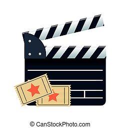 cinéma, film, coloré, conception, billets, bardeau