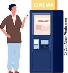 cinéma, film, visiteur, illustration, homme, carte, vente, time., vecteur, machine., achat, théâtre, plat, billet