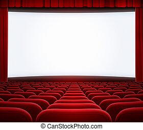 cinéma, grand écran, sièges, rideau, cadre, rouges