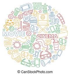 cinéma, griffonnage, set., film, vecteur, icons., vidéo, modèle, tv., fond