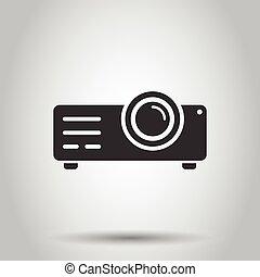 cinéma, illustration, isolé, style., vidéo, projecteur, ...