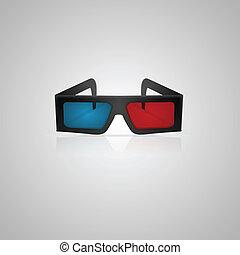 cinéma, illustration, vecteur, noir, lunettes, 3d