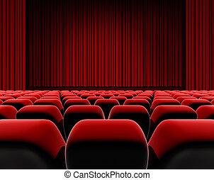 cinéma, ou, écran théâtre, seats.