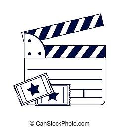cinéma, plat, film, conception, billets, bardeau