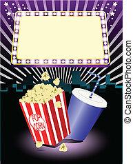 cinéma, pop-corn, et, soude