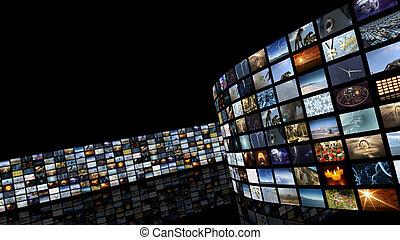cinéma, rendering., mur vidéo, divertissement, 3d