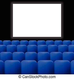 cinéma, rideaux, bleu
