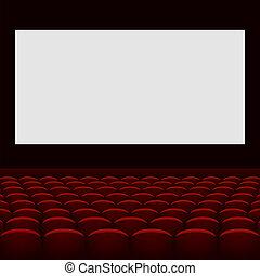 cinéma, théâtre, à, écran, et, seats.