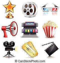 cinéma, vecteur, ensemble, icônes