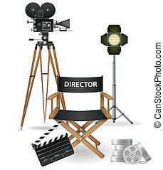 cinématographie, icônes, ensemble, cinéma