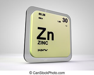 Zn render elemento qumico forma peridico cinc tabla cinc zn qumico elemento tabla peridica 3d urtaz Images