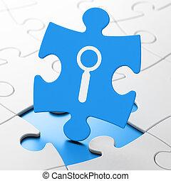 cinche desarrollo, concept:, búsqueda, en, rompecabezas, plano de fondo