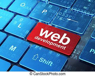 cinche desarrollo, concept:, ordenador teclado, con, palabra, cinche desarrollo, en, entrar, botón, plano de fondo, 3d, render