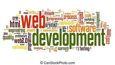 cinche desarrollo, concepto, en, palabra, etiqueta, nube
