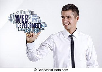 cinche desarrollo, -, joven, hombre de negocios, conmovedor, palabra, nube