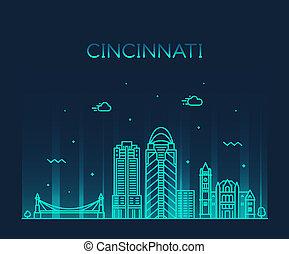cincinnati, contorno, ohio, estados unidos de américa, vector, lineal, ciudad
