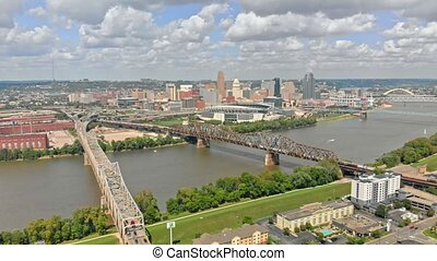 Cincinnati downtown skyline - Aerial view of downtown ...