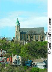 cincinnati, helig, kyrka, immaculata, historisk, kors, oj