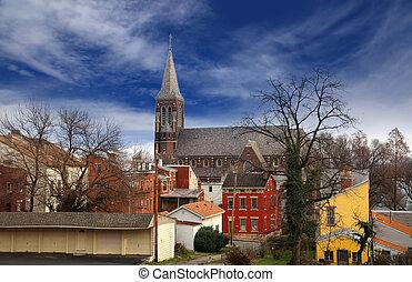 Cincinnati historic district - Historic church and old...