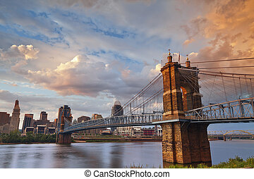 Cincinnati. - Image of Cincinnati and John A. Roebling ...