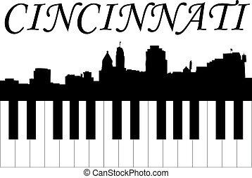Cincinnati skyline with piano keys