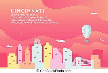 Cincinnati Ohio City Building Cityscape Skyline Dynamic Background Illustration
