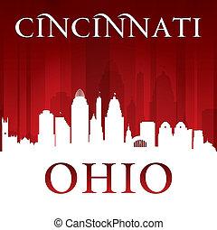 cincinnati, ohio, ciudad, silueta, fondo rojo